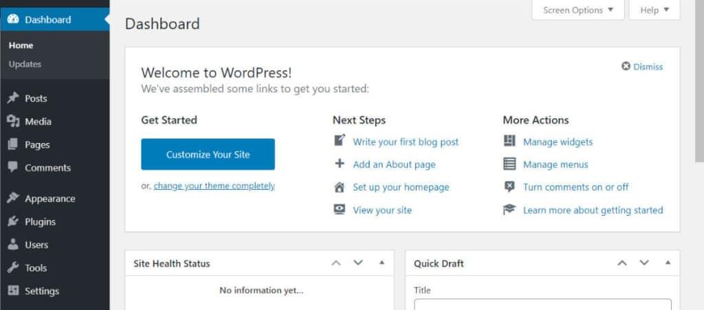 WordPress-dashborad-bluehost.